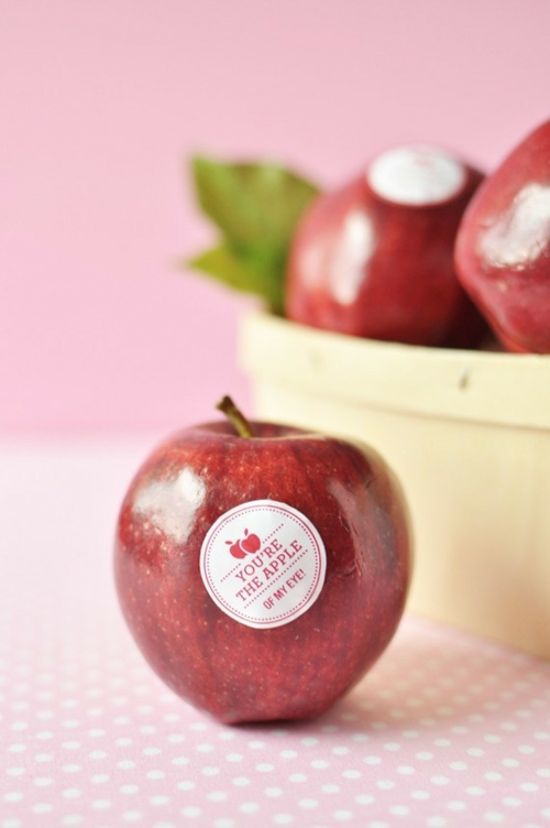 Valentinstag Dekoideen druckfähig sticker apfel