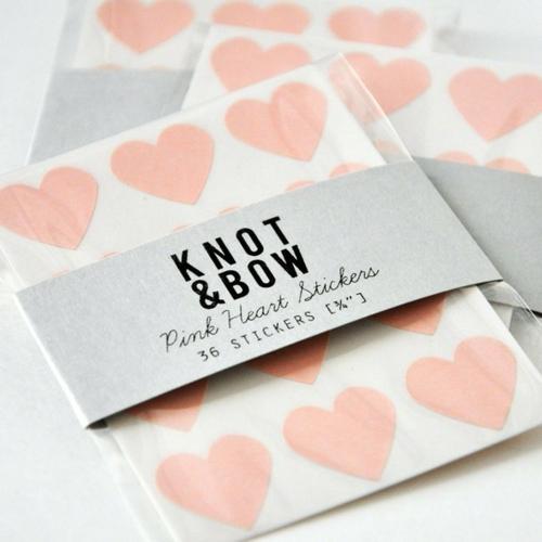 Valentinstag Dekoartikel pink herz sticker aufkleber knot bow
