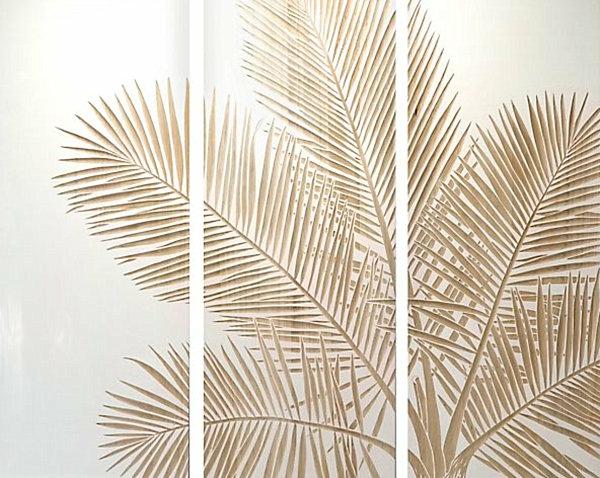 Wanddeko Esszimmer exotisch paneele palme