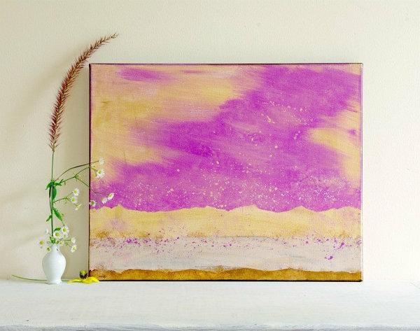 Wanddeko  Esszimmer vibrierend orchid wasserfarbe gemälde