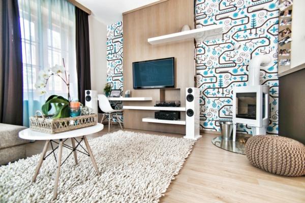 Awesome Wandgestaltung Wohnzimmer Braun Weis Pictures