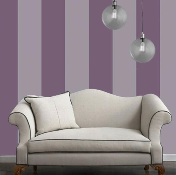 Streifen Wandgestaltung Gepolsterte On Moderne Deko Ideen Plus, Wohnzimmer  Design