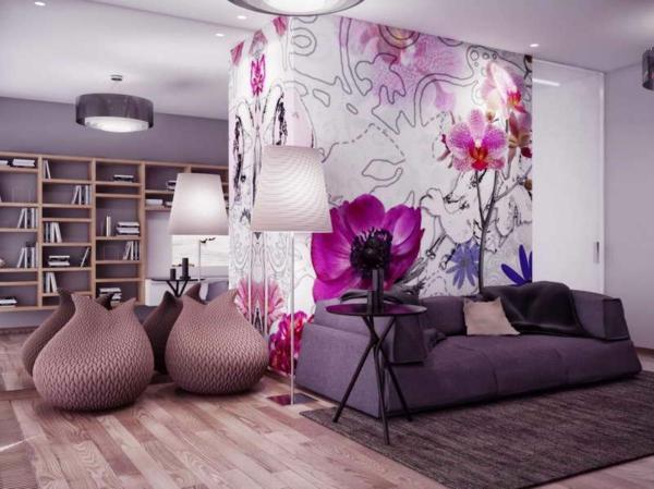 Lieblich Wandgestaltung Mit Tapete | Wandfarbe ...