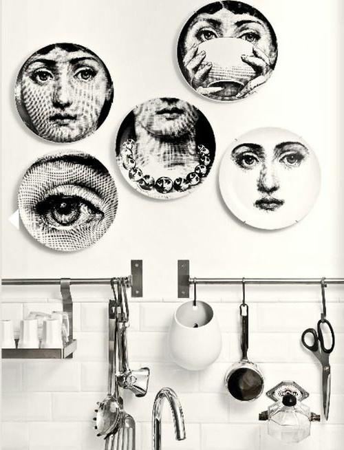 Wand teller Dekoration klassisch antik schwarz weiß dame gesicht
