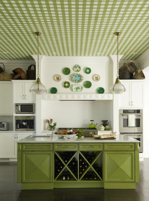Wand teller Deko klassisch antik verziert grüne küche