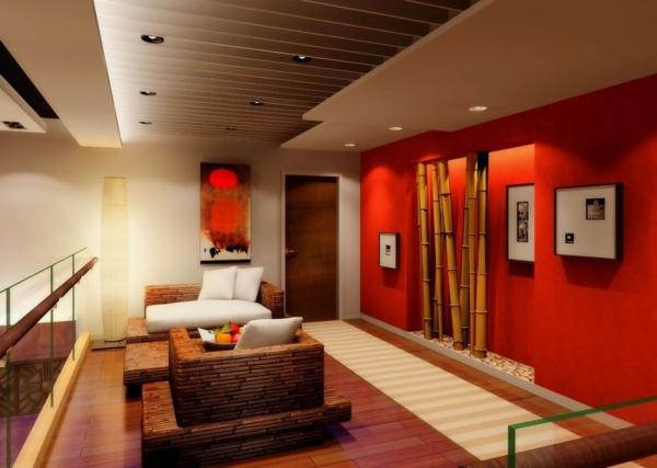 Wohnzimmer Deko Bambus Dekoration Wand Rot Knall Farben