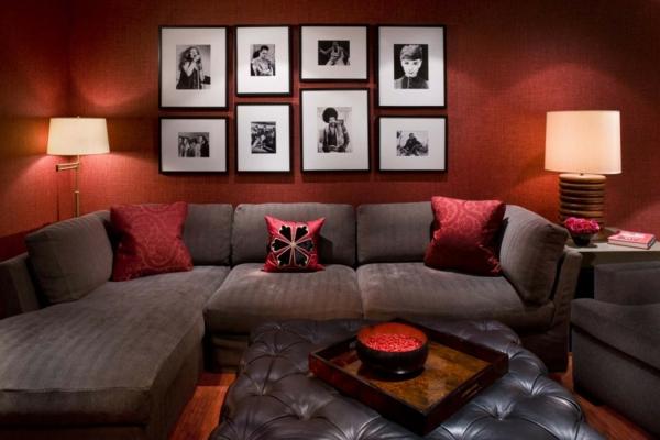 rot wohnzimmer:Wohnzimmer Deko gemälde rot wandgestaltung lampenschirm tischlampe