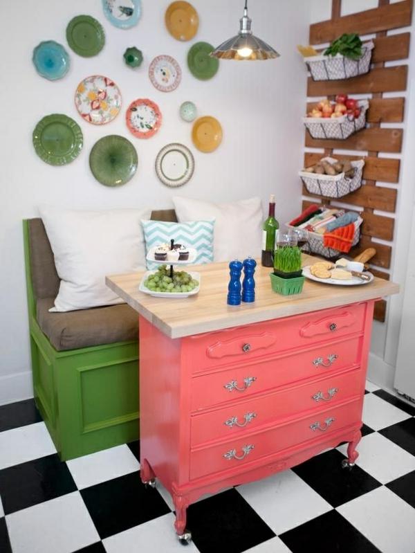 Kommode als Küchenblock rosa feminine haltegriffe schubladen