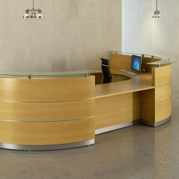 büromöbel design helles holz chrom