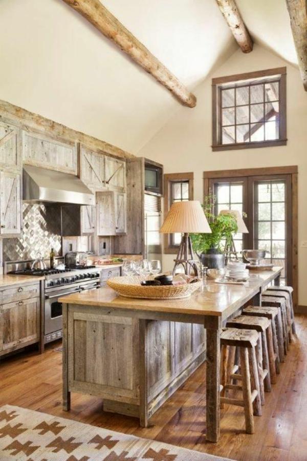 barhocker arbeitsplatte küche rustikal holz alt