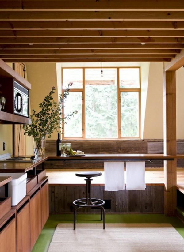 barhocker küche fenster regale rustikal stil
