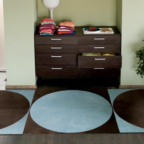 design teppiche blau braun kreise