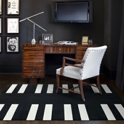 designteppiche weiß rechteckig auf schwarz