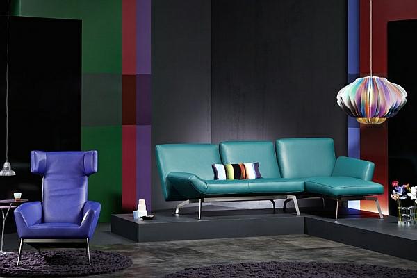 designer couch blaugrün lila sessel