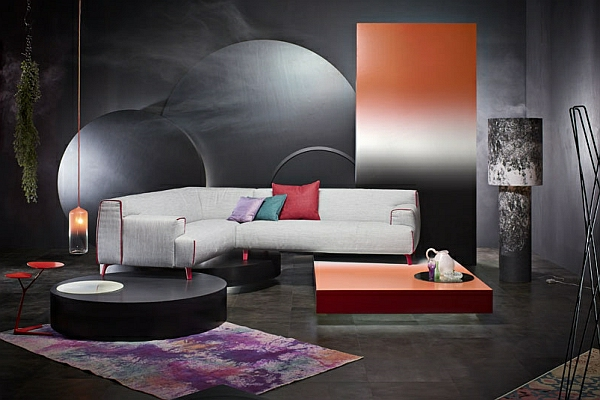 designer couch gebrochenes weiß geometrische formen