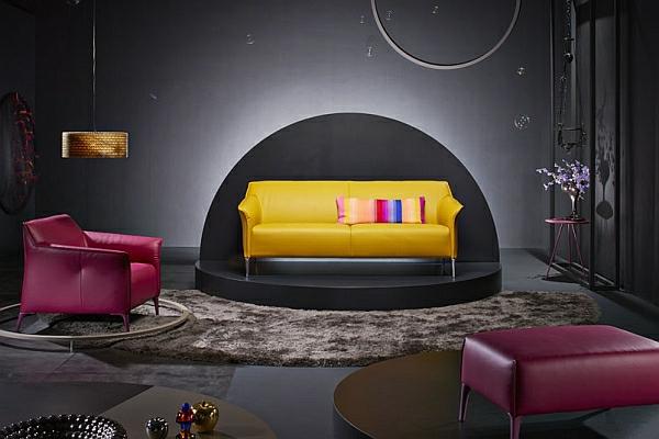 designer couch gelb leder magenta sessel hocker