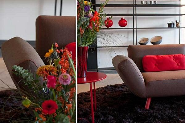 designer couch hochflor teppich