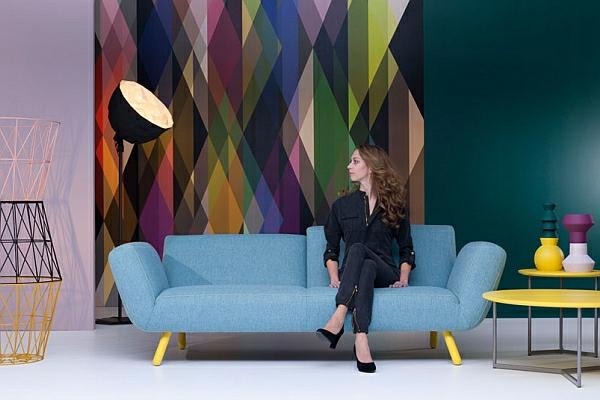 designer couch leolux blau