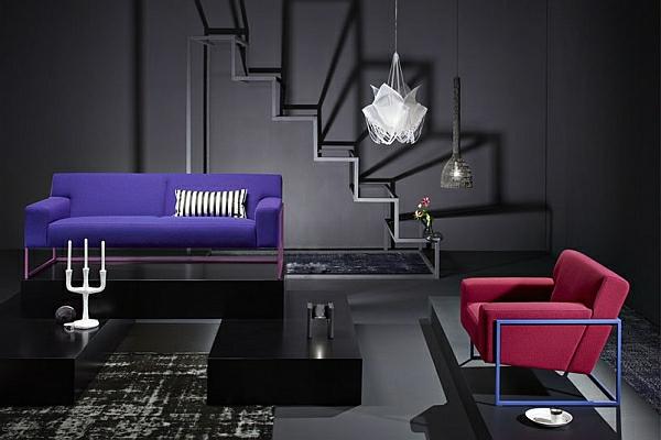 designer couch rechteckig lila sofa roter sessel