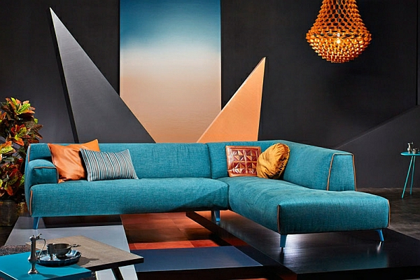 designer couch türkis lederkissen