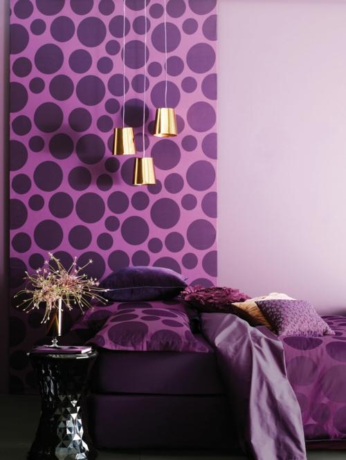 wandtapeten muster feminine farben violett lila