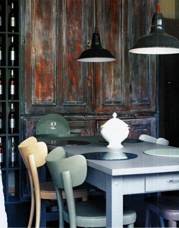 eigenartig küche einrichtung holz bemalt stühle tisch