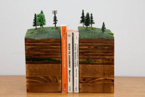 fantastische Bücherstützen abenteur wald design landfläche