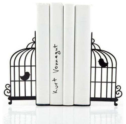 coole Bücherstützen vogelkäfige weiß schwarz