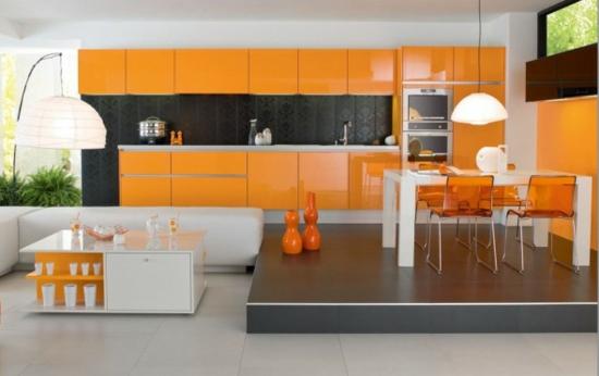 farbe orange küchenschränke hochglanz