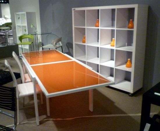 orange minimalistisch esstisch hochglanz