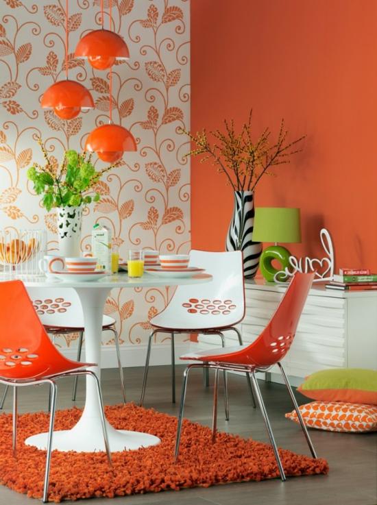 farbe orange plastik stühle hochflor teppich zebra vase