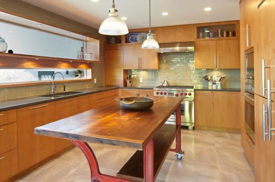 farben für küchenwände ideen grün fliesenspiegel holz hell kontrast