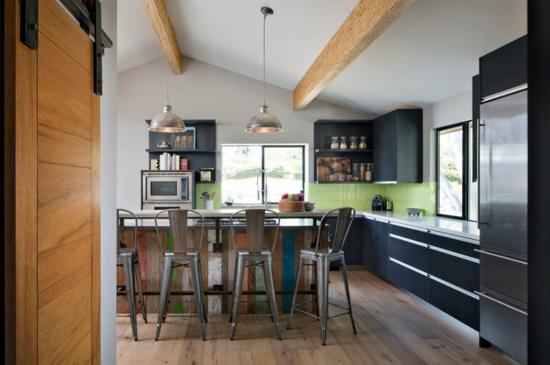 farben für küchenwände ideen grün fliesenspiegel holz schwarz