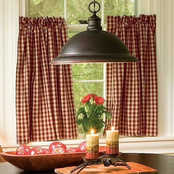fenster küche blumenvase kerzen glühen hängelampe gardinen