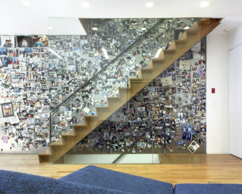 fotowand familienfotos wandgestaltung treppe stufen- glas geländer