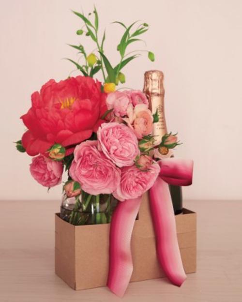 DIY Ideen zum Valentinstag blumenstrauß rot rosa
