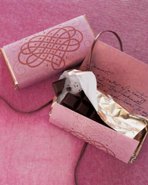 frische DIY Ideen zum Valentinstag schokoladen papier