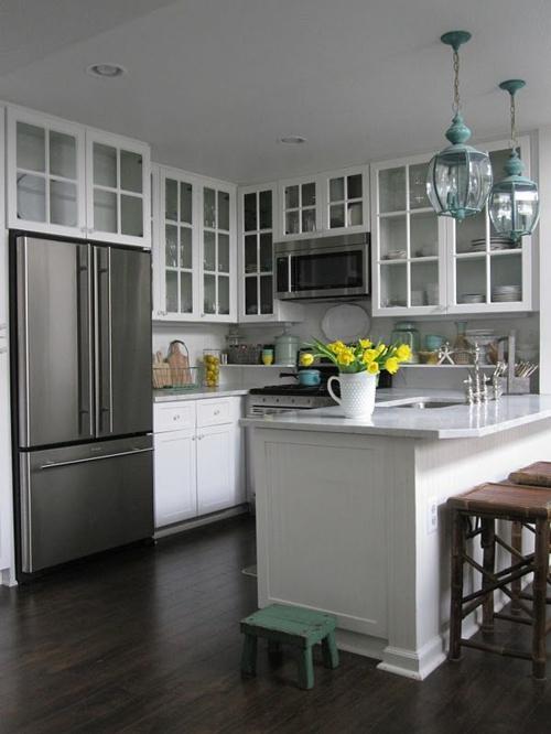glas küchenschrank hocker rustikal vintage modern kühlschrank