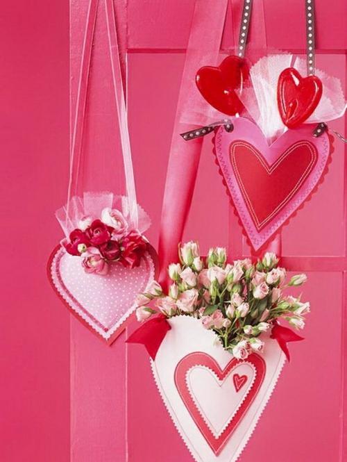 herz deko hängende herzen rosa