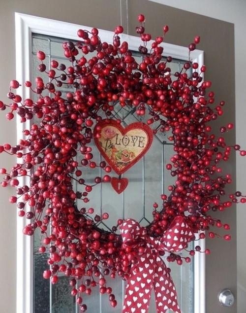 herz deko valentinskranz rote beeren