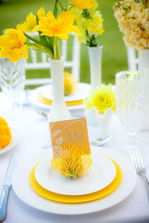 hochzeitsblumen gelb wildblumen tischdeko