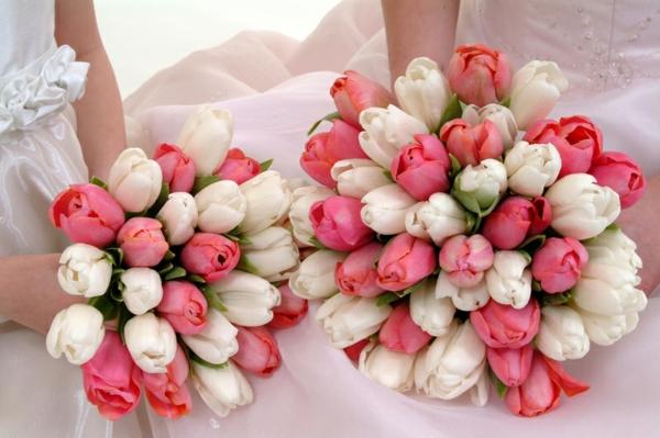 hochzeitsblumen weiße rosa tulpen blumenstrauß
