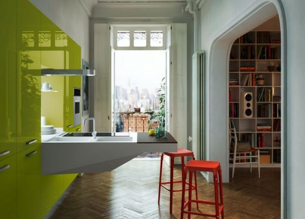 italienische küchenmöbel apfelgrüne fronten hochglanz