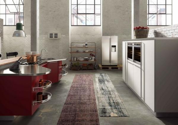 italienische küchenmöbel dunklerote kochtheke