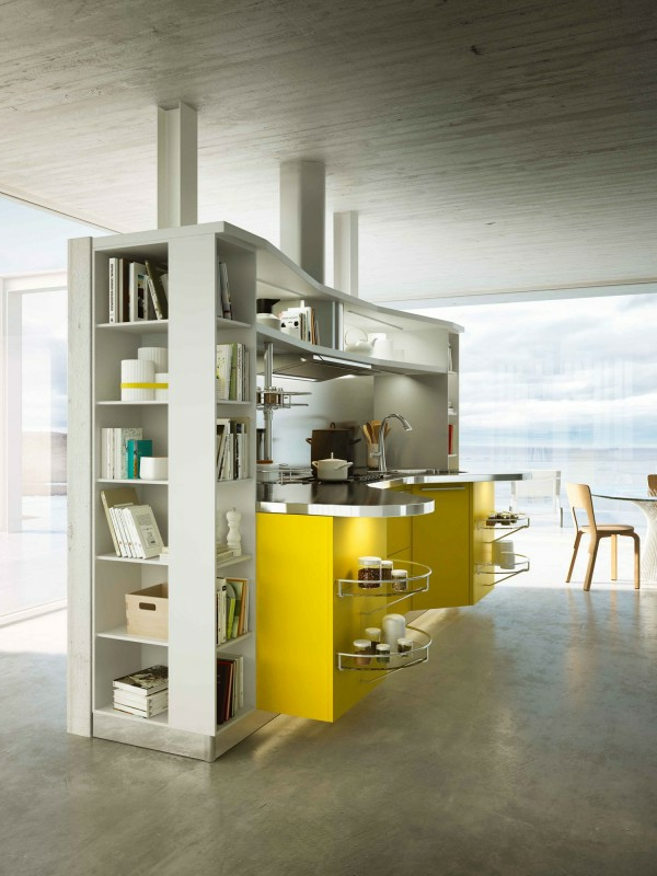 italienische küchenmöbel ergonomisch metallglanz gelb