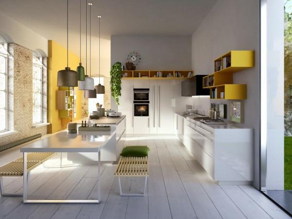 küchenmöbel gelbe regale weißer tisch