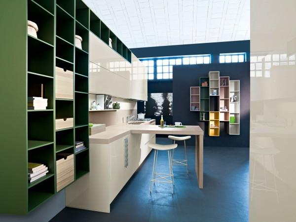 küchenmöbel grasgrüne regale weiße schränke
