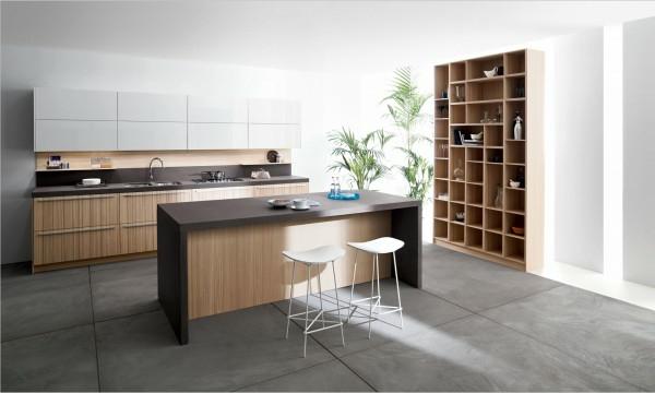 italienische küchenmöbel graue betonfliesen groß