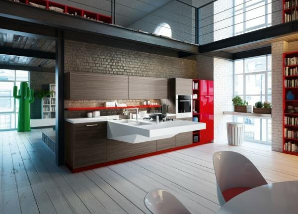 küchenmöbel holzdielen rote fronten hochglanz