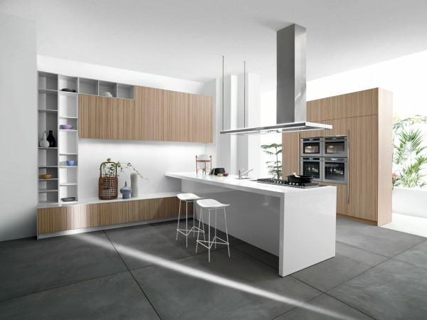 küchenmöbel holzfurniere weiße kücheninsel
